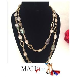 Anne Klein Gold Rain Drop and Crystal Necklace
